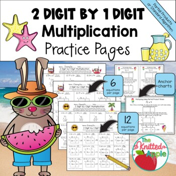 2 Digit by 1 Digit Multiplication using Partial Products {SummerTheme}