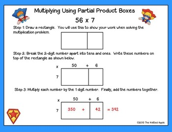 2 Digit by 1 Digit Multiplication using Partial Products {Superhero Theme}