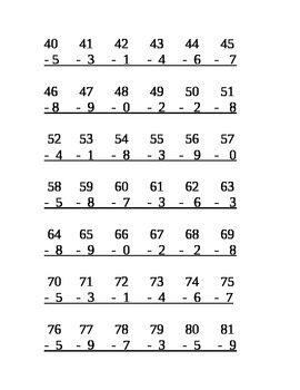 2 Digit by 1 Digit Subtraction Center