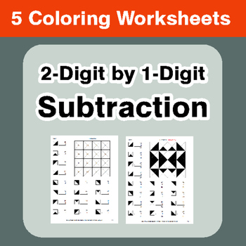 2-Digit by 1-Digit Subtraction - Coloring Worksheets