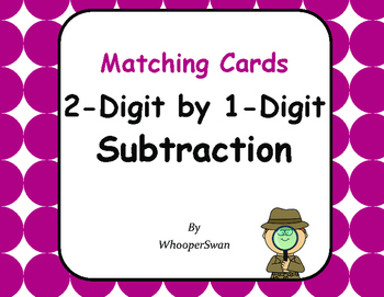 2-Digit by 1-Digit Subtraction Matching Cards