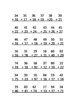 2 Digit by 2 Digit Addition Center