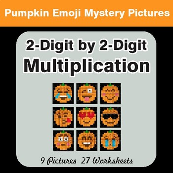 2-Digit by 2-Digit MULTIPLICATION - PUMPKIN EMOJI Math Mystery Pictures