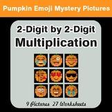2-Digit by 2-Digit MULTIPLICATION - PUMPKIN EMOJI Mystery Pictures