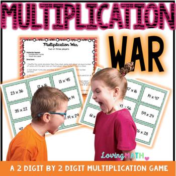 2 Digit by 2 Digit Multiplication War | Math Center Game