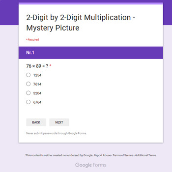 2-Digit by 2-Digit Multiplication - Christmas EMOJI Mystery Picture Google Forms
