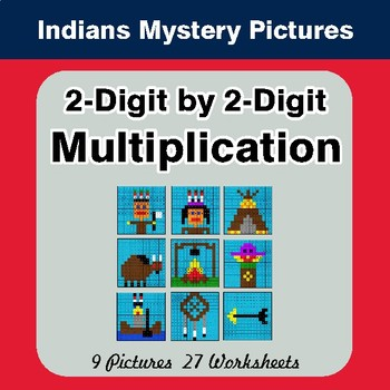 2-Digit by 2-Digit Multiplication - Color-By-Number Math Mystery Pictures