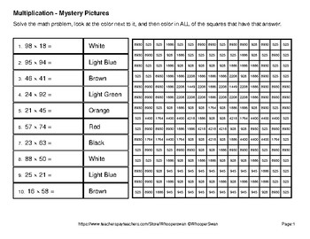2-Digit by 2-Digit Multiplication - Color-By-Number Math Mystery Pictures - Pets