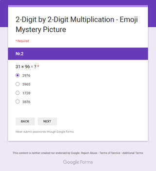 2-Digit by 2-Digit Multiplication - EMOJI Mystery Picture - Google Forms