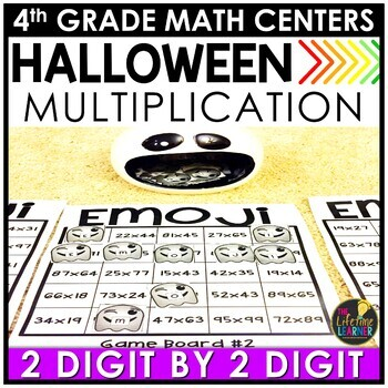 2 Digit by 2 Digit Multiplication Ghost Game October Math Center