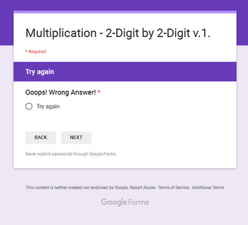 2-Digit by 2-Digit Multiplication - Interactive Digital Task Cards Google Forms