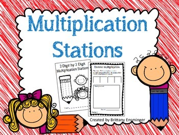 2 Digit by 2 Digit Multiplication Math Stations