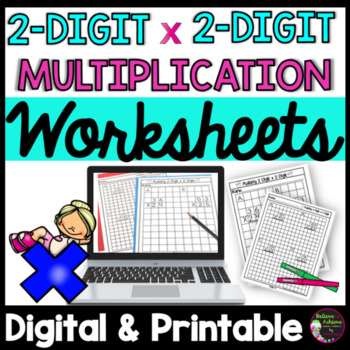 2 Digit by 2 Digit Multiplication Practice- 20 pages plus example!