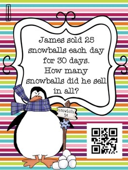 2 Digit by 2 Digit Multiplication - QR Code Activity - World Problems