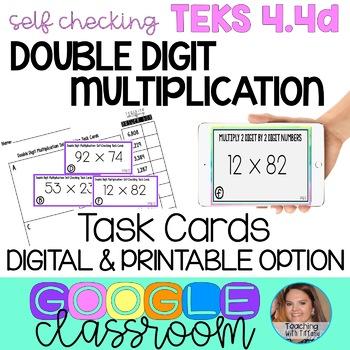 2 Digit by 2 Digit Multiplication Self Checking Digital Task Cards