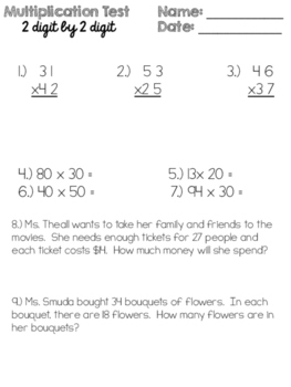 2 Digit by 2 Digit Multiplication Test
