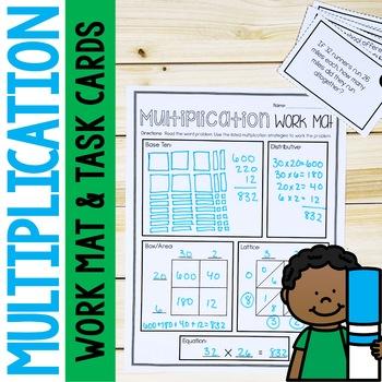 2 Digit by 2 Digit Multiplication Word Problems Task Cards & Worksheets