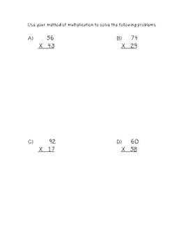 2-Digit by 2-Digit Multiplication Worksheet