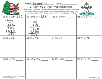 2 Digit by 2 Digit Multiplication using Partial Products {Christmas Theme}