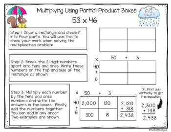 2 Digit by 2 Digit Multiplication using Partial Products {Spring Theme}