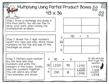2 Digit by 2 Digit Multiplication using Partial Products {Winter Theme}