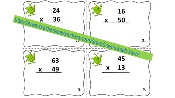 2 Digit by 2 Digit Multiplication Task Cards with Regrouping