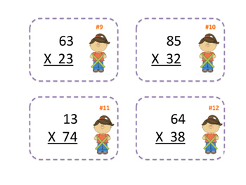 2 Digit by 2 Digit Multiplication Cards