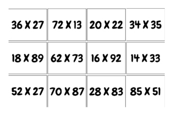 2 Digit by 2 Digit Partial Products Matching Game