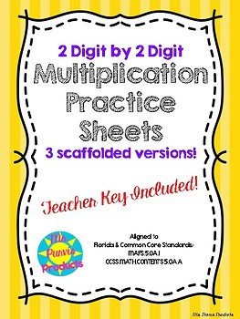 2-Digit by 2-Digit Scaffolded Multiplication Fluency Worksheets