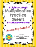 2-Digit by 2-Digit Scaffolded Multiplication Fluency Worksheets