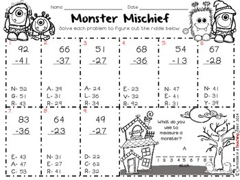 2-Digit by 2-Digit Subtraction with Regrouping Monster Mischief