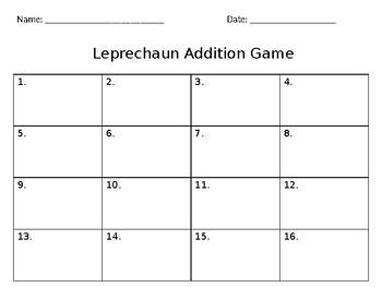 2 Digit plus 1 Digit Leprechaun Addition Game