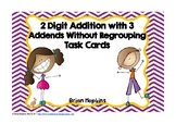 2 Digit with 3 Addends Addition Without Regrouping Task Cards