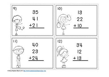 3 Addends Task Cards~CCSS: 1.OA.3 &amp- 1.OA.6 independent math center