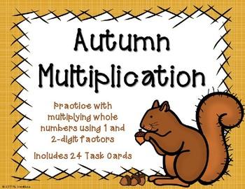 2 Digit x 1 Digit Multiplication {Autumn Theme}