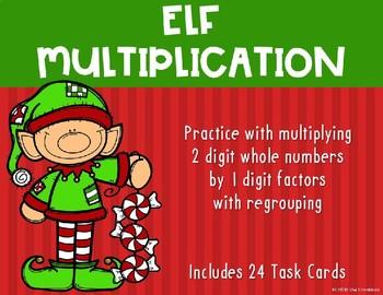 2 Digit x 1 Digit Multiplication {Christmas - Elf}
