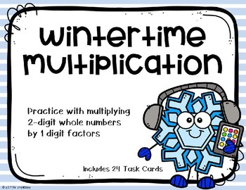2 Digit x 1 Digit Multiplication {Winter Theme}