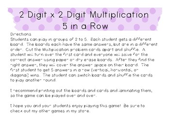 2 Digit x 2 Digit Multiplication 5 in a Row Game