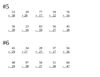2 Digits - Regrouping Timed Tests