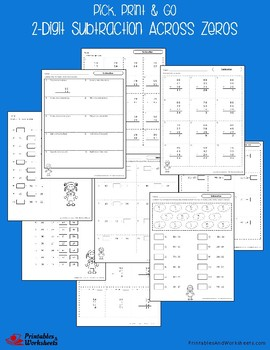 Double Digit Subtraction Across Zeros Worksheets With Answer Keys