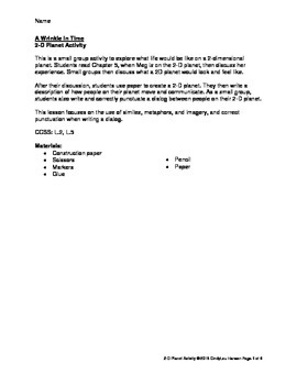 2-Dimensional Planet Group Activity