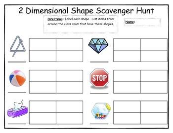 2 Dimensional Shape Scavenger Hunt