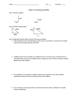 2 Dimensional Vector without Trigonometry WS