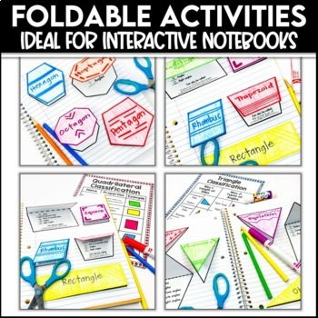 2D and 3D Shapes Foldables and Task Card Bundle