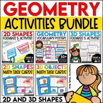 2D Shapes and 3D Shapes Activities Bundle