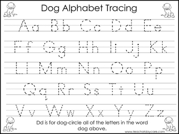 2 Dog themed Task Worksheets. Trace the Alphabet and Numbe