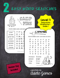 Camping Word Search Activity for Kindergarten