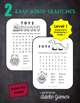 Toy Word Search Activity for Kindergarten