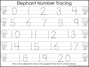 2 Elephant themed Task Worksheets. Trace the Alphabet and Numbers 1-20. Preschoo