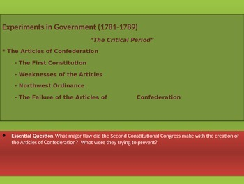 2. Experiments in Government - Lesson 1 of 6 - Articles of Confederation
